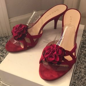 Casadei Sandals, leather suede, Open toe, Red, 8.5